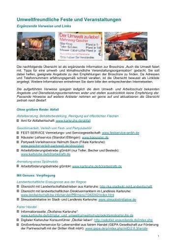 Umweltfreundliche Feste und Veranstaltungen - Karlsruhe