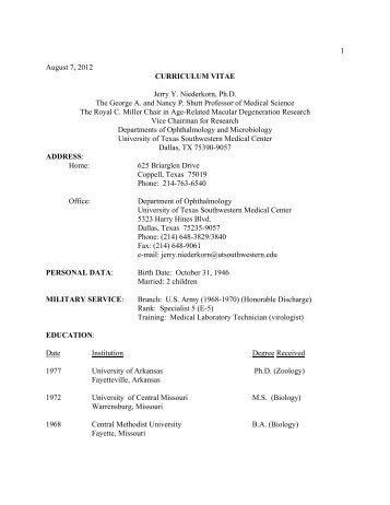 1 August 7, 2012 CURRICULUM VITAE Jerry Y ... - UT Southwestern