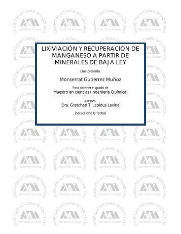 lixiviación y recuperación de manganeso a partir de minerales de ...