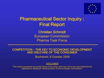 Pharmaceutical Sector Inquiry : Final Report