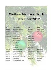 Weihnachtsmarkt Frick 1. Dezember 2012
