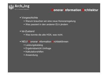 Honorar Information Architektur