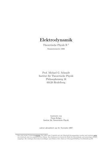 Elektrodynamik - Institut für Theoretische Physik der Universität