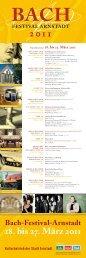 18. bis 27. März 2011 - Bach Cantatas