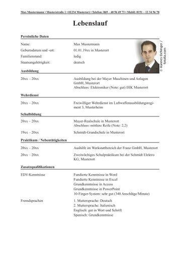 beispiel lebenslauf zur bundeswehr bewerbung als pdf - Bundeswehr Bewerbung
