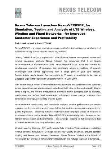 Press Release Launch NexusVERIFIER at ... - Nexus Telecom