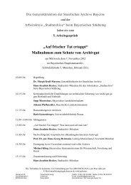 Programm - Die Staatlichen Archive in Bayern