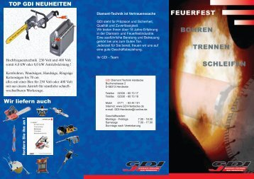 download Feuerfest-Folder - GDI Diamant Technik Herdecke