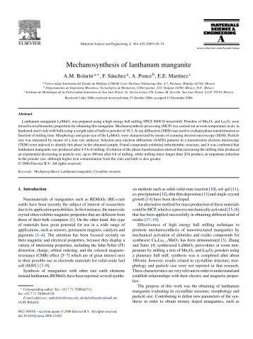 Mechanosynthesis of lanthanum manganite