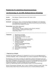 Protokoll der 70. ordentlichen Generalversammlung vom ...
