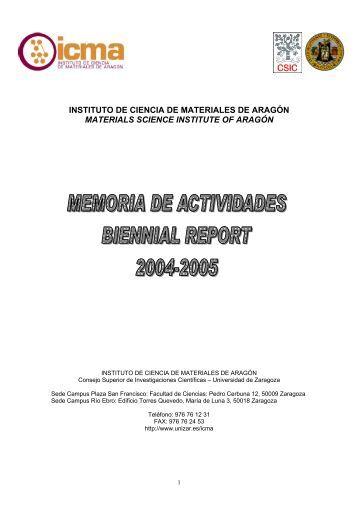 memoria años 2004-2005 - Universidad de Zaragoza