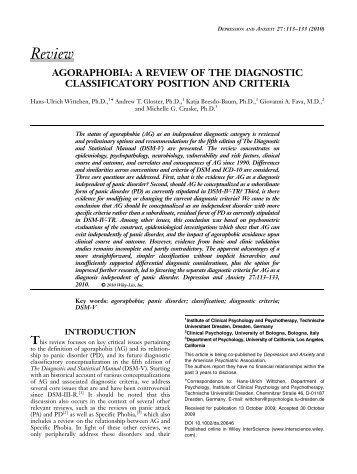 Agoraphobia: a review of the diagnostic classificatory ... - DSM-5