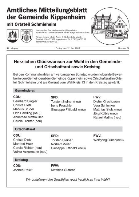 Amtliches Mitteilungsblatt der Gemeinde Kippenheim