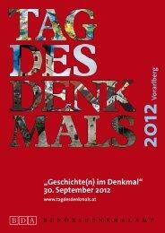 Programmbroschüre Vorarlberg - Tag des Denkmals
