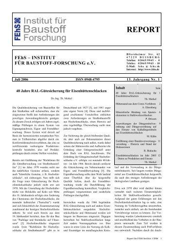 REPORT - FEhS - Institut für Baustoff-Forschung