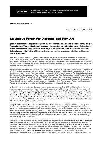 An Unique Forum for Dialogue and Film Art An Unique Forum for ...