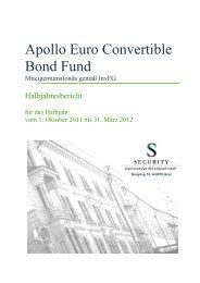 Halbjahresbericht Apollo Euro Convertible Bond Fund - Security KAG