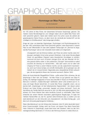 Hommage an Max Pulver - Graphologie News