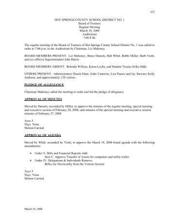 March 18, 2008 Regular Board Meeting Minutes - Hot Springs ...