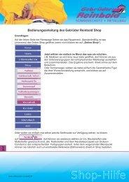 Allgemeine Shop-Hilfe - Gebrueder Reinbold