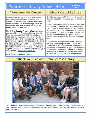Issue 1, May 2012 - Whitman College