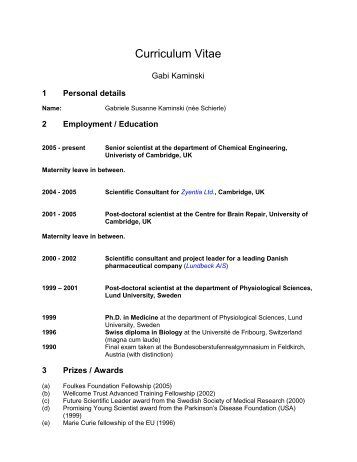 Curriculum Vitae - University of Cambridge