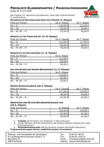 Preisliste Pauschalprogramme\374 - Schierker Baude