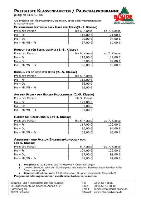 7b863e0609 Preisliste Pauschalprogramme\374 - Schierker Baude