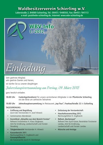 WBV-Info 1-2012 - Waldbesitzerverein Schierling wV