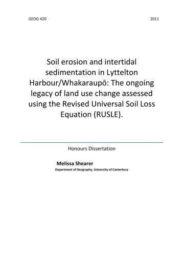 Soil erosion and intertidal sedimentation in Lyttelton Harbour ...