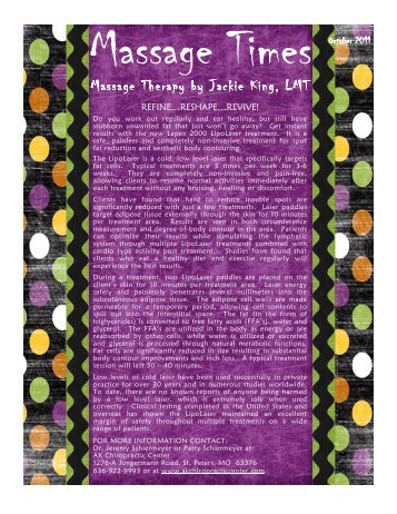 October 2011 - Massage Therapy by Jackie King