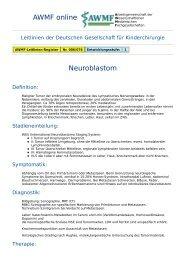 AWMF online - Leitlinie Kinderchirurgie: Neuroblastom