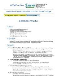 AWMF online - Leitlinie Kinderchirurgie: Ellenbogenfraktur