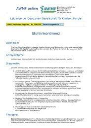 AWMF online - Leitlinie Kinderchirurgie: Stuhlinkontinenz