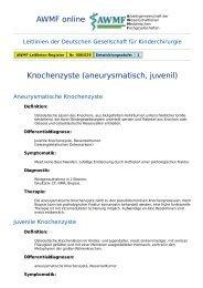 AWMF online - Leitlinie Kinderchirurgie: Knochenzyste ...