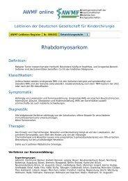 AWMF online - Leitlinie Kinderchirurgie: Rhabdomyosarkom