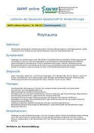 AWMF online - Leitlinie Kinderchirurgie: Polytrauma