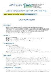 AWMF online - Leitlinie Kinderchirurgie: Urethralklappen