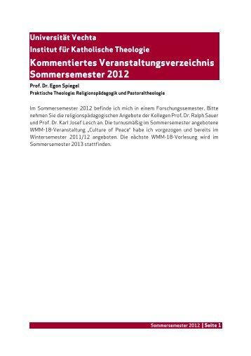 Kommentiertes Veranstaltungsverzeichnis ... - Universität Vechta