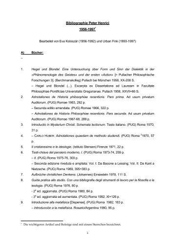 Bibliographie Peter Henrici 1956-1997 - Theologische Hochschule ...