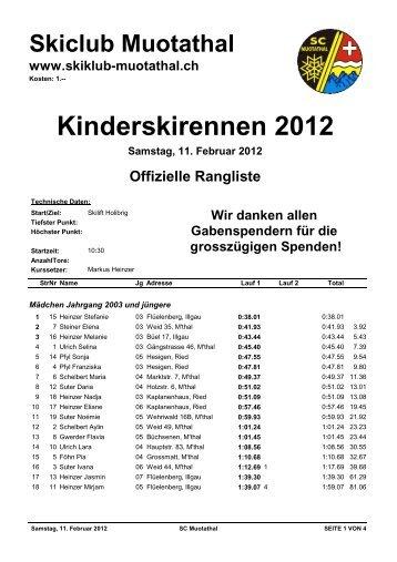 Rangliste Kinderskirennen 2012 - Skiclub Muotathal