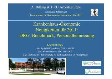 Krankenhaus-Ökonomie Neuigkeiten für 2011: DRG, Benchmark ...