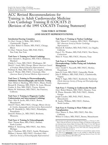 ACC Revised Recommendations for Training in ... - Onlinejacc.org