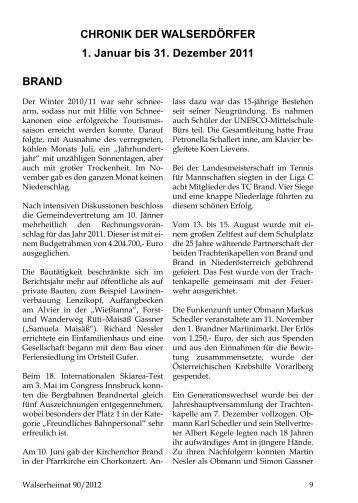 Chronik der Gemeinde Ebnit für das Jahr 2011 - Vorarlberger ...