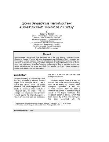 Epidemic Dengue/Dengue Haemorrhagic Fever: A Global Public ...