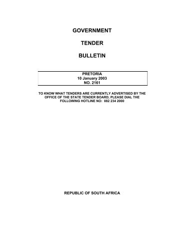 GOVERNMENT TENDER BULLETIN - National Treasury
