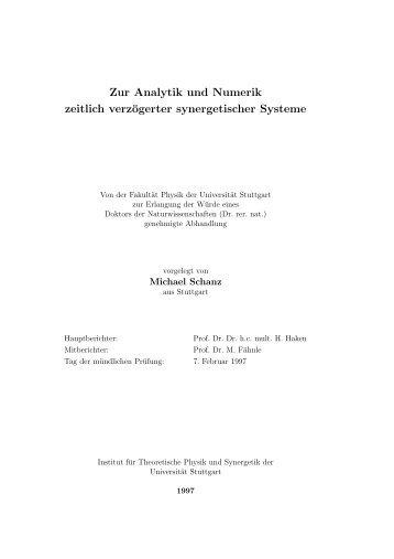 Zur Analytik und Numerik zeitlich verzögerter synergetischer Systeme