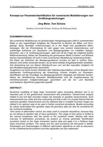 Konzept zur Parameteridentifikation für numerische Modellierungen ...