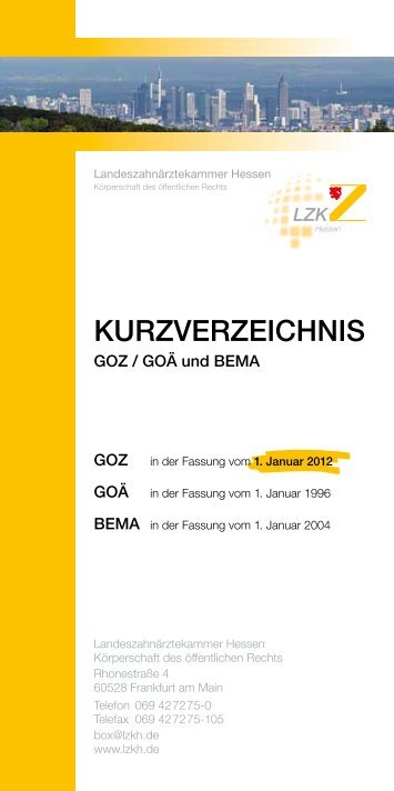 GOZ Kurzverzeichnis - Landeszahnärztekammer Hessen