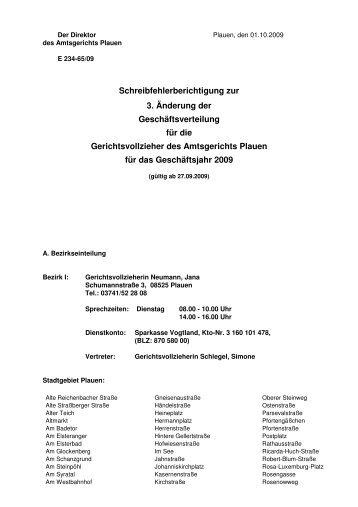 Schreibfehlerberichtigung zur 3. Änderung der ... - Justiz in Sachsen